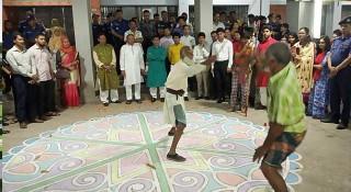 বৈশাখী মেলার উপলক্ষে রাজবাড়ীতে লাঠি খেলা